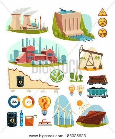 Energetics and natural resources. Infographic elements. Vector illustration.