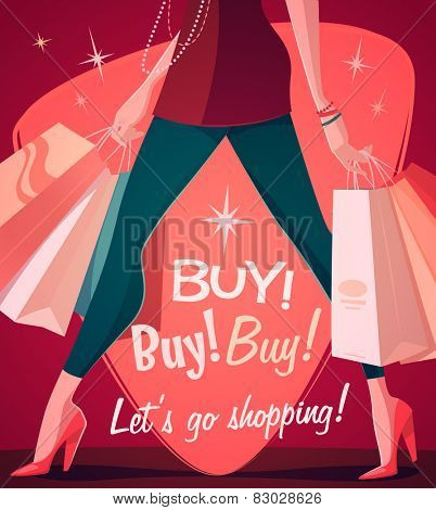 Let's go shopping! Vector illustration.