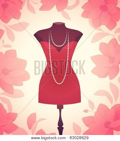 Dress model. Vector illustration.
