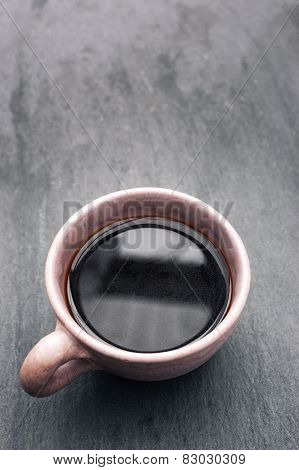 Coffee Cup Containing Freshly Brewed Black Coffee.