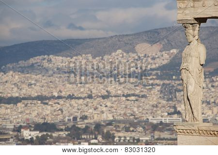 Hills Of Athens Seen Behind Erechtheion Caryatid