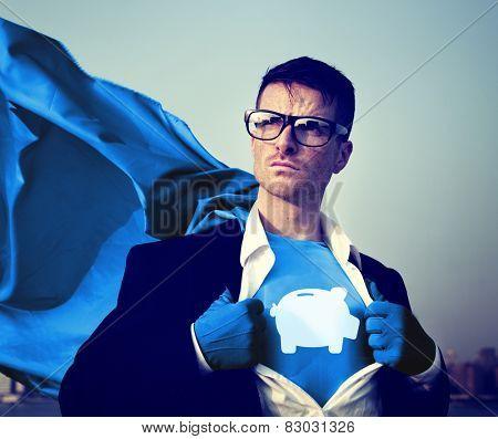 Piggybank Strong Superhero Success Professional Empowerment Stock Concept