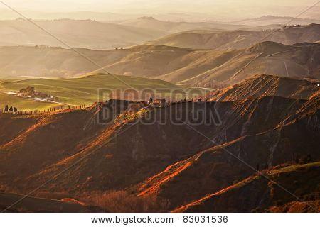 Tuscany, Volterra Le Balze Rural Landscape. Italy