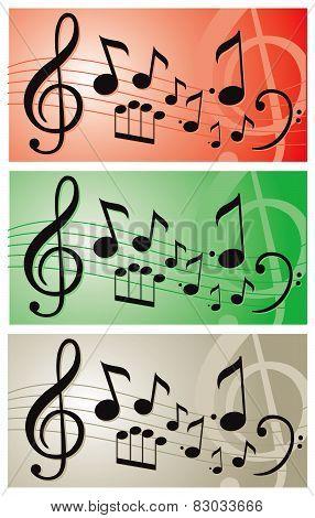 Music notes illustration vector banner