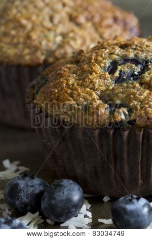 Blueberry Bran Muffins - Close Up