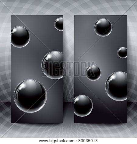 Abstract Figures With Black Glass Balls Inside.
