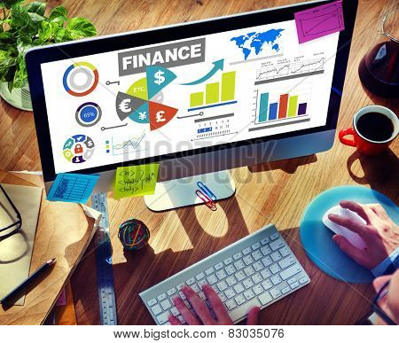 Finance Bar Graph Chart Investment Money Business Concept