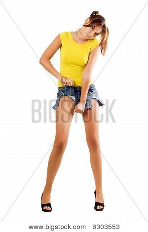 Woman Rending Her Shorts