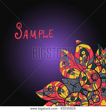 Abstract ornamental shape, vector mandala on gradient. Ethnic pa