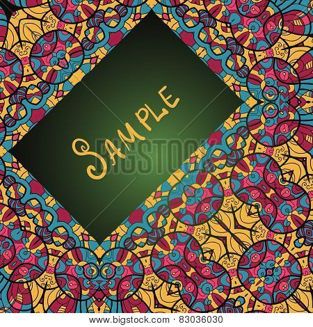 Greeting card with floral ornament. Ethnic paisley ornament