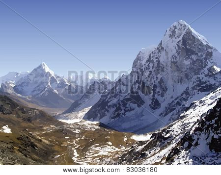 Himalaya Mountains Vector