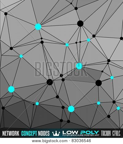 Low Poly trangular network with nodes background for your futuristic flyer, stylish brochure, poster background and modern applications.