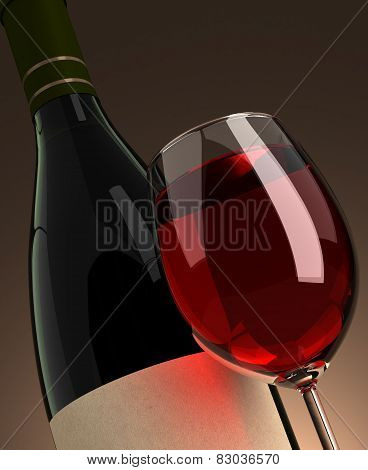 Wineglass And Bottle Closeup