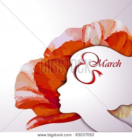 Greeting Card. Beautiful young woman with flowers in hair