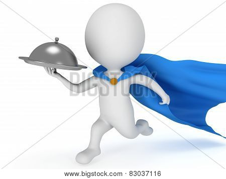 Brave Superhero Waiter With Silver Tray