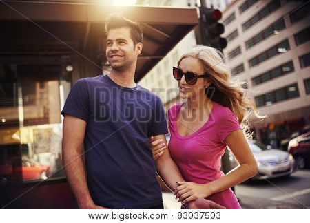 romantic couple in down town los angeles
