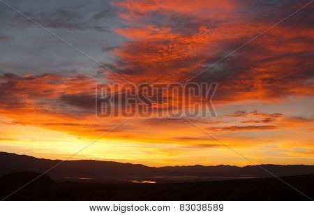 Sunrise Comes Over Owens Lake Sierra Nevada Range California