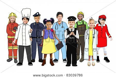 Group of Children Standing with Variation Uniform
