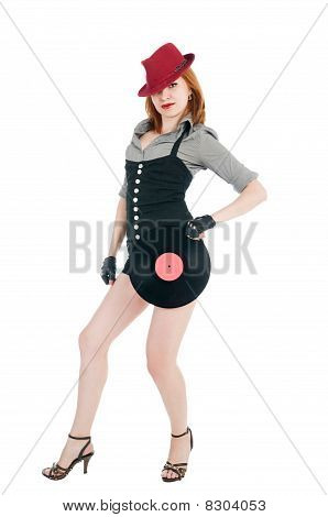 Girl With Vinil Disc