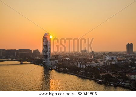Sunset At The Chao Phraya River