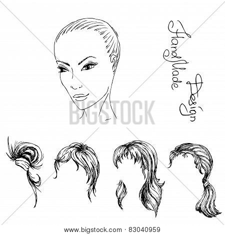 face and hairstyle girl painted by hand,  vector illustration