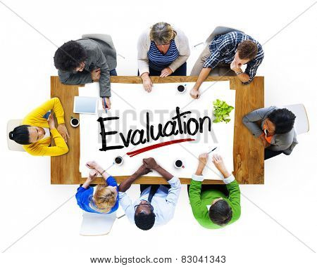 Aerial View of Multiethnic Group with Evaluation Concept