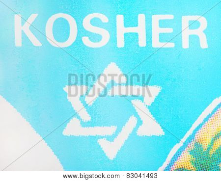 PILSEN CZECH REPUBLIC - FEBRUARY 13, 2015: Printed symbol of Kosher quality products for orthodox jews.