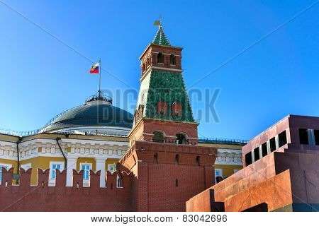 The Mausoleum Of Lenin, Kremlin Wall, Tower And Flag On The Red Square, Moscow, Russia.