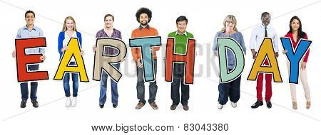 Cheerful and Diverse People Holding Text Earth Day