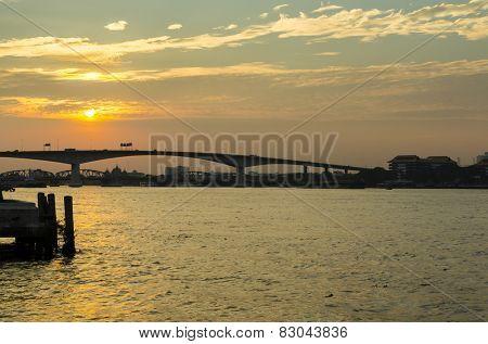 Chao Phraya river at sunset in Bangkok, Thailand