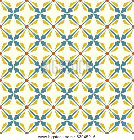 Blue And Yellow Abstract Rectangle And Arrow And Circle Shape Seamless Pattern