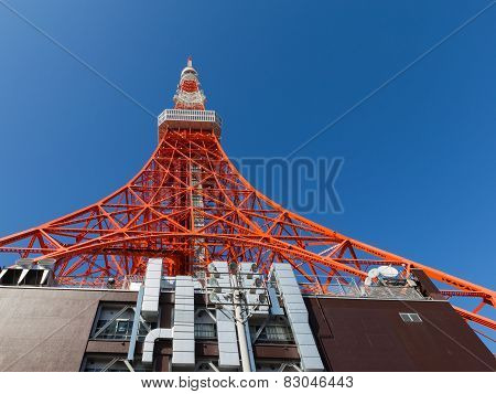 Tokyo Tower Against A Blue Sky