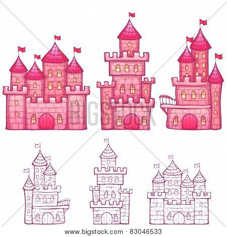 Vector illustration of Cartoon fairy tale castle