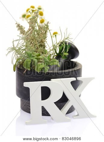 Mortar with fresh herbs and white letters RX isolated on white