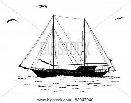Sailboat in the sea and birds silhouettes