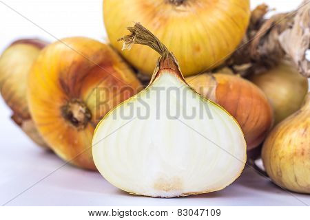 half onion on the background of a bunch of several ripe onions