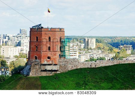Vilnius City Aerial View To The Gediminas Castle Tower