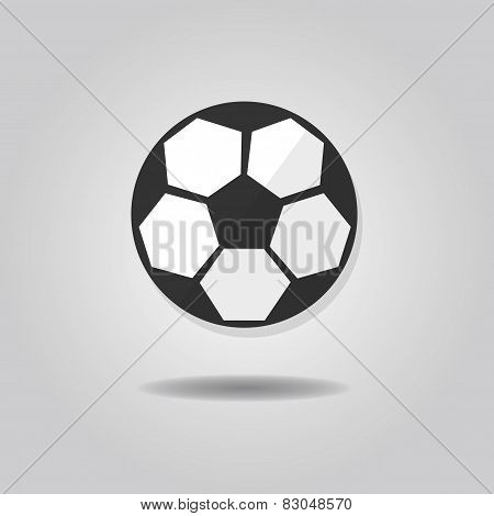 Abstract soccer ball icon with dropped shadow