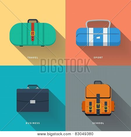 Bags, suitcase and backpack flat vector illustration.
