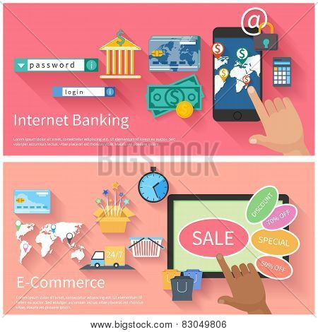 Internet banking and e-commerce concept
