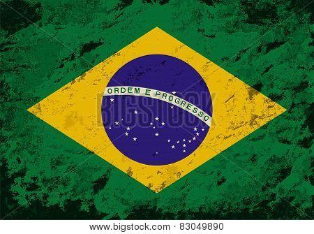 Brazilian flag. Grunge background. Vector illustration
