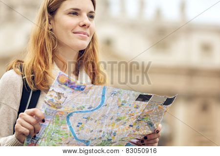 Young Beautiful Woman With Map.