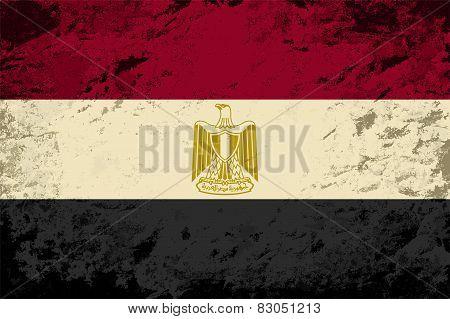 Egyptian flag. Grunge background. Vector illustration