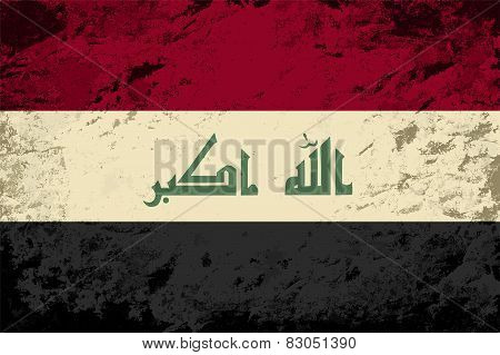 Iraqi flag. Grunge background. Vector illustration