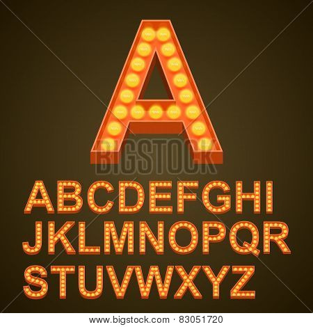 Font bulbs art sign abc
