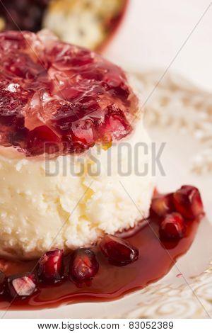 Coconut Panna Cotta Dessert With Pomegranate