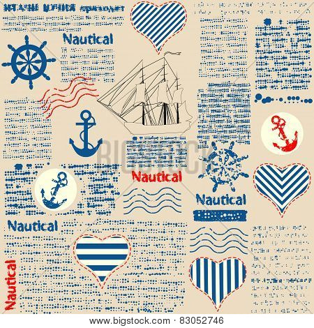 Imitation of newspaper in nautical style with grunge elements.