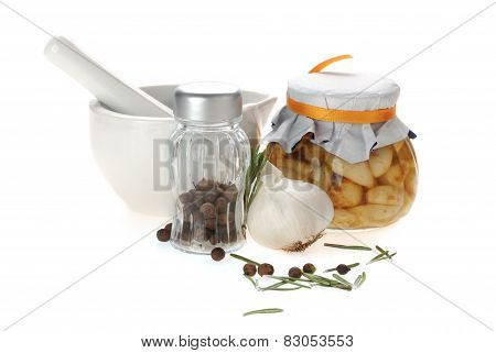 porcelain mortar and pestle with spices
