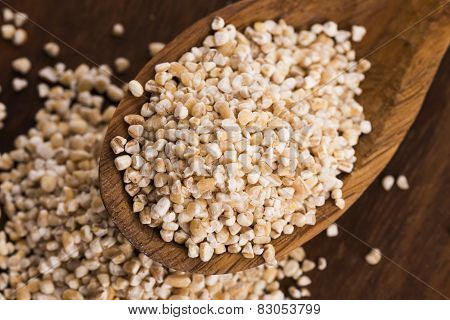 Barley Groats On Wooden Spoon