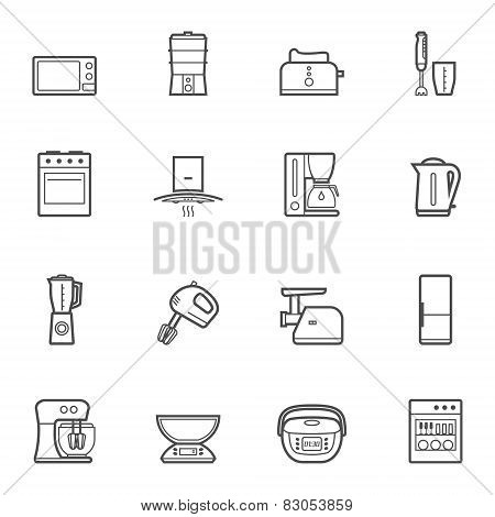 Kitchen appliances vector line style icon set